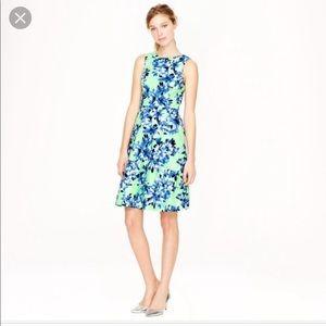 J. Crew Blue Green Floral A-line Dress Sleeveless